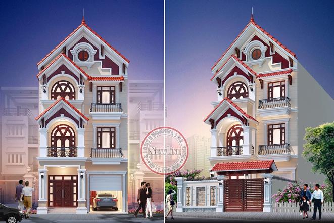 TOP 10 Mẫu biệt thự phố tân cổ điển một mặt tiền thoáng duy nhất giá rẻ dễ xây dựng