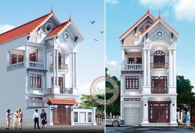 Thiết kế biệt thự phố 3 tầng mái thái đẹp tại Hải Dương BT17010