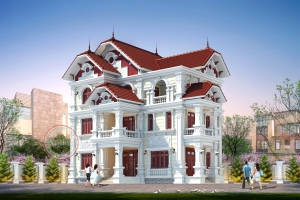 Đẹp mẫu mực chuẩn thiết kế biệt thự tân cổ điển 3 tầng BT17022