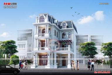 Thiết kế biệt thự phố tân cổ điển đẹp 3.5 tầng mặt tiền 10m NO17042