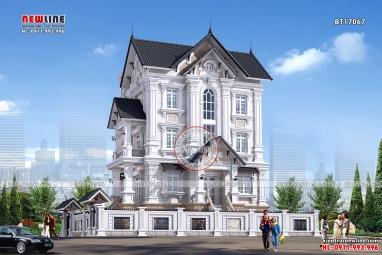 Chiêm ngưỡng vẻ đẹp bề thế thiết kế biệt thự Pháp 4 tầng BT17067