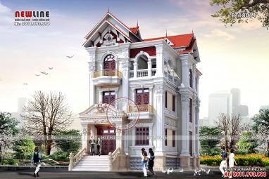 Thiết kế biệt thự Pháp đẹp 3 tầng mặt tiền 10m tại Quảng Trị BT18014