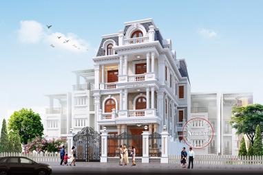 Thiết kế biệt thự tân cổ điển 3.5 tầng mặt tiền 8m siêu hot BT18028