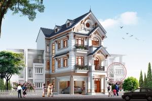 Mẫu thiết kế biệt thự phố 3 tầng mặt tiền 7.5m hot nhất 2019 BT18038