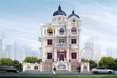 Thiết kế Biệt thự lâu đài Pháp 4 tầng uy nghi quyền thế BT18053