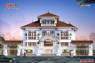 Chiêm ngưỡng sự bề thế đẳng cấp dinh thự mái thái 3 tầng BT18088