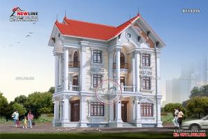 Thiết kế biệt thự tân cổ điển đẹp 3 tầng tại Hà Nội BT18096