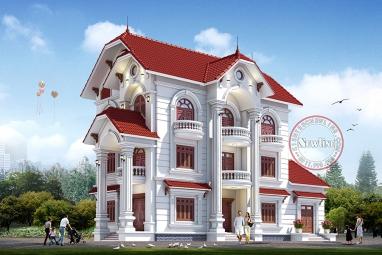 Sang trọng bậc nhất với mẫu biệt thự 3 tầng kiểu Pháp đẹp sân vườn rộng BT19005