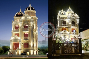 Thi công hoàn thiện mẫu lâu đài Pháp đẹp chuẩn mực mặt tiền 9.2m BT19008