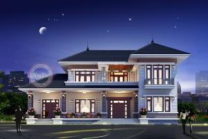 Thiết kế biệt thự vườn chữ L 2 tầng đẹp độc đáo sang trọng BT19019