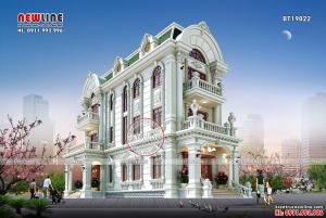 Thiết kế biệt thự tân cổ điển siêu đẹp 3 tầng mặt tiền 6m BT19022