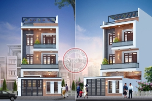 Thiết kế nhà lô mặt tiền 7m đẹp nổi bật nhất khu phố NO19026