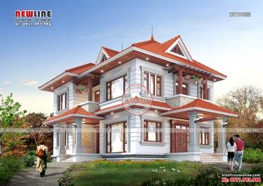 Thiết kế biệt thự vườn mái Thái 2 sảnh đón đẹp sang trọng BT19032