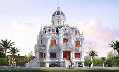 Thiết kế Biệt thự lâu đài Pháp 2 mặt tiền đẹp uy nghi BT19033