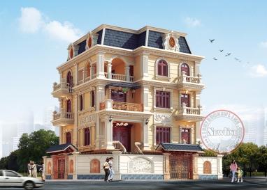 Thiết kế biệt thự vuông 4 tầng kiên cố mặt tiền 11.5m x 12.5m mái mansard đẹp tại Hải Dương BT19047