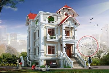 Mẫu biệt thự 3 tầng kiểu Pháp có bán hầm rộng mặt tiền 8m x 20m tại Bắc Ninh BT19051