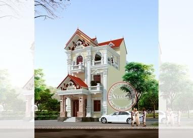 Chiêm ngưỡng biệt thự 3 tầng mặt tiền 8m mái thái không góc chết tại Bắc Ninh BT19056