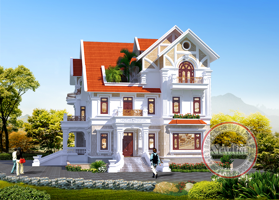 Mẫu biệt thự 3 tầng kiểu Pháp thông tầng 8 tỷ đẹp trên đất quê Ninh Bình rộng 1500m2 BT19066