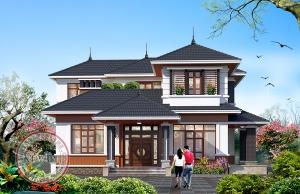 Bản vẽ nhà vườn 2 tầng Châu Âu 04 phòng ngủ cho gia đình 3 thế hệ tại Vĩnh Phúc BT19074