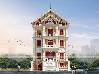 Mẫu biệt thự 4 tầng kiểu Pháp tân cổ điển mặt tiền 11m x 9m 4.2 tỷ BT20014