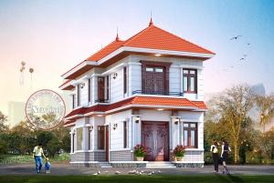 Thiết kế nhà vườn mái thái 2 tầng 1.3 tỷ 3 phòng ngủ hợp nông thôn Việt BT20017
