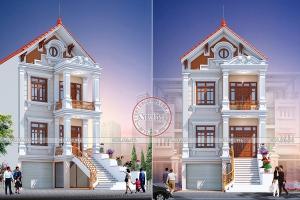 Mẫu thiết kế biệt thự phố 3 tầng mái thái 7m x 14.6m để ở và kinh doanh đẹp nhất BT20019