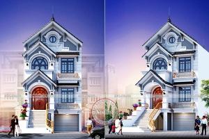 Mẫu nhà phố 3 tầng kiểu Pháp 3 phòng ngủ để ở và kinh doanh tại Phúc Thọ BT20021