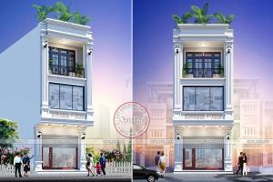 Mẫu nhà lô phố mặt tiền 5m hiện đại 3 tầng để ở và kinh doanh chụp ảnh cưới BT20022