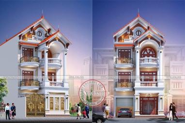 Mẫu nhà phố 3 tầng tân cổ điển Pháp mặt tiền 8m 4 phòng ngủ ấn tượng BT20025