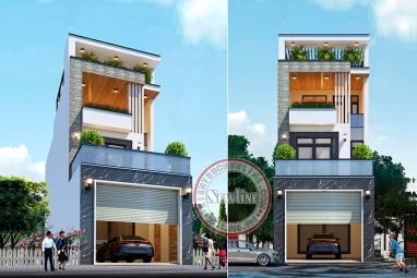 Thiết kế nhà lô phố 3 tầng hiện đại mặt tiền 6m để ở và kinh doanh tại Thanh Hóa NO20028
