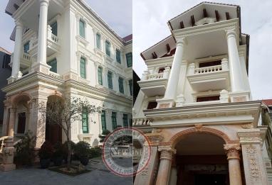 Hoàn thiện biệt thự tân cổ điển cao cấp 3 tầng mái thái đẹp tại Bắc Ninh BT20037
