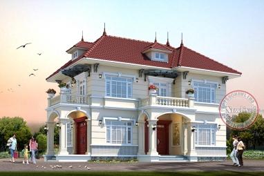 Mẫu nhà vườn 2 tầng Châu Âu mái Nhật mặt tiền 8.5m x 14m tỷ lệ hoàn mỹ tại Ninh Bình BT20042