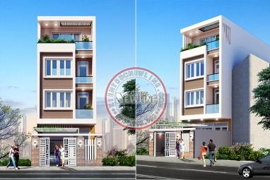Thiết kế nhà lô phố 4 tầng mặt tiền 5m với 4 phòng ngủ có thang máy hiện đại NO20043