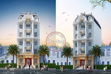 Hút mắt ngắm với ngoại thất kiểu Pháp tòa nhà văn phòng cho thuê 5 tầng mặt tiền 10m VP20083