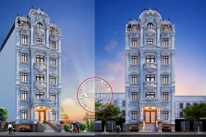 15 tỷ xây tòa nhà văn phòng cho thuê 8 tầng kiểu Pháp mặt tiền 11m ai cũng ao ước VP20085