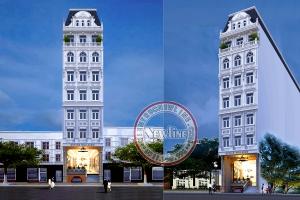 Ý tưởng tòa nhà văn phòng cho thuê kết hợp nhà ở 7 tầng có bán hầm kiểu Pháp đẹp VP20092