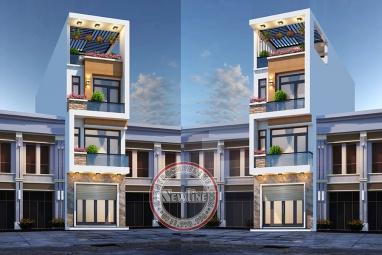 Mẫu nhà lô phố hiện đại 4 tầng mặt tiền 4m có thang máy tiện dụng NO21001