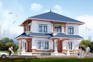 Vẻ đẹp thôn quê thân thuộc biệt thự 2 tầng mái Nhật 9m x 15m tại Đồng Hới BT21004