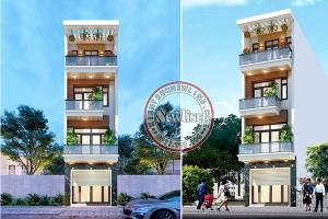 Trình làng mẫu nhà lô phố 4 tầng mái bằng mặt tiền 4.5m có thang máy tiện nghi NO21014