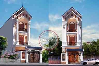 Mãn nhãn với vẻ đẹp tân cổ mái thái nhà ống 3 tầng mặt tiền 5m x 14m tại Bắc Ninh NO21021