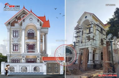 Hình ảnh thi công biệt thự tân cổ điển có thiết kế hút mắt BT18096