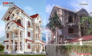 Tiến độ thi công biệt thự tân cổ điển đẹp tại Nam Định BT19005
