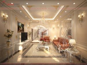 Thiết kế nội thất tân cổ điển trắng tinh khôi NTCĐ 180309